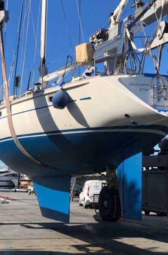 Oyster 55 SHEARWATER painted, polished, new engine, new generator and now going back in the water.