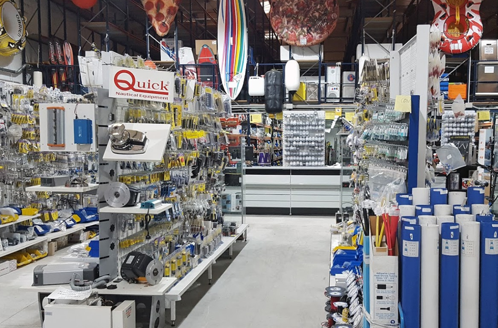 Marine Point chandlery showing stock of parts